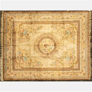 A Pure Silk Sino French Savonnerie Wool Rug, 21st