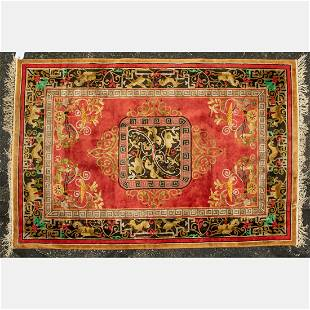 A Chinese Pictorial Silk and Wool Rug, 21st Century.