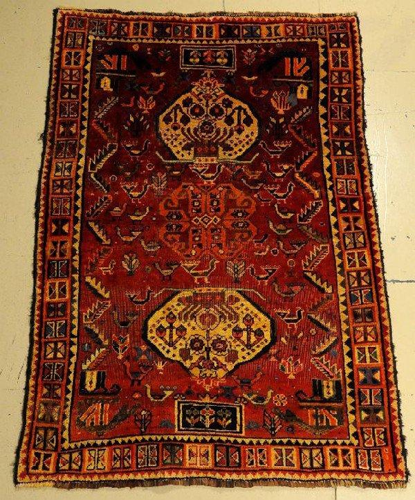 "A Semi Antique Persian Shiraz Wool Rug, 5' 8"" x 3' 9"""