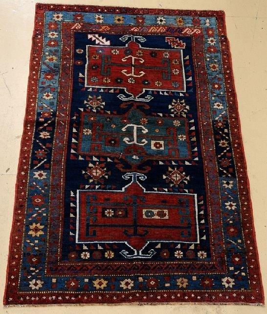 """An Antique Kazak Caucasian Wool Rug, 3' 11"""" x 6' 3"""""""