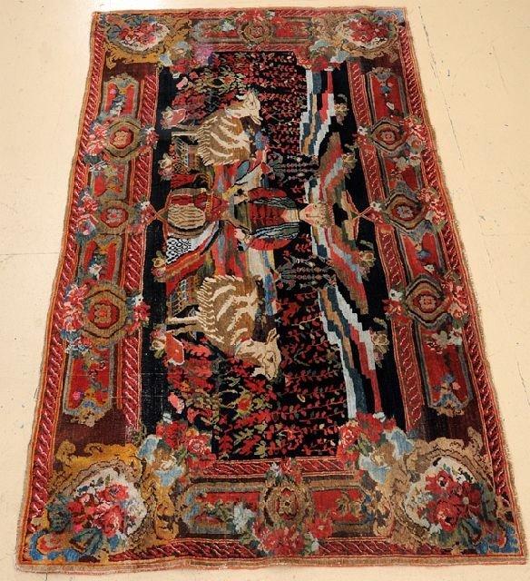 An Antique Persian Bakhtiari Pictorial Wool Rug, 4' x 7'