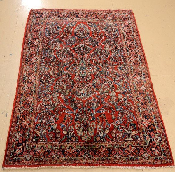"""An Antique Persian Sarouk Wool Rug, 4' 5"""" x 6' 9"""""""