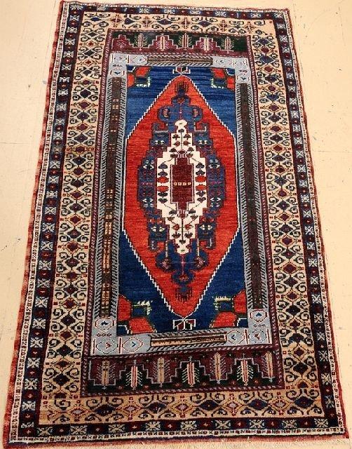 """An Antique Turkish Village Wool Rug, 3' 10"""" x 6' 10"""""""