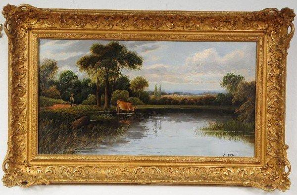 3: E. Horton (British, 19th Century), Cow by a Stream,