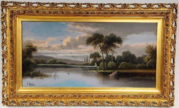 4: E. Horton (British, 19th Century), Fishing by a Stre
