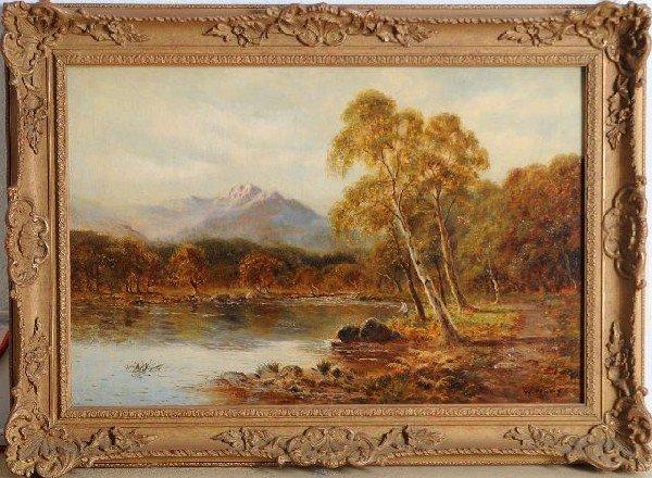8: W. Murray (20th Century), Figure Fishing by a Stream