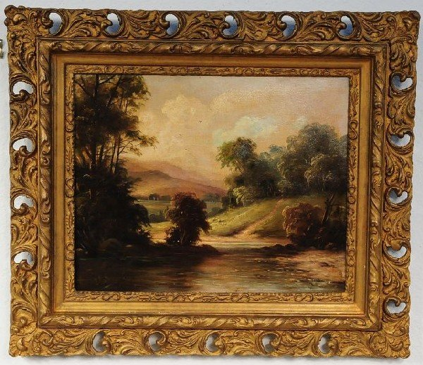16: F. Rutter (19th Century), Landscape with River and