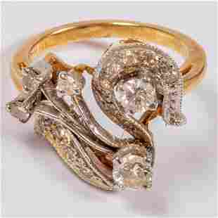 A 14kt Yellow and White Gold and Diamond Ring