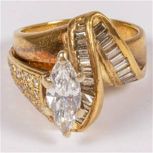 A 18kt Yellow Gold and Diamond Ring