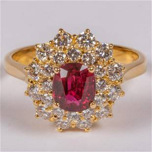 An 18kt Yellow Gold Ruby and Diamond Ring