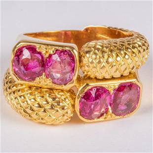 A 20kt Yellow Gold and Ruby Ring