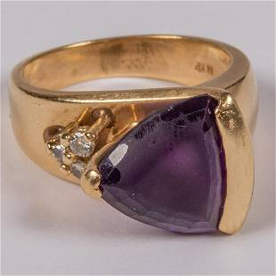 A 14kt Yellow Gold Plated Amethyst and Diamond Ring
