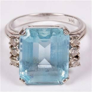 A 14kt White Gold, Aquamarine and Diamond Ring