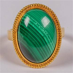 An 18kt Yellow Gold and Malachite Ring