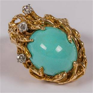 A 14kt Yellow Gold Turquoise and Diamond Ring
