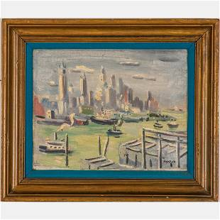 Gerard Hordijk (Dutch, 1899-1958) New York Harbor, Oil