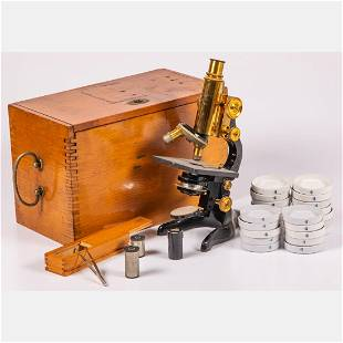 An Ernst Leitz Microscope No. 261982 with Wooden Case
