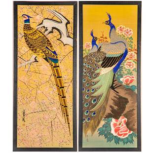 A Pair of Chinese Ink and Gouache Paintings on Silk,