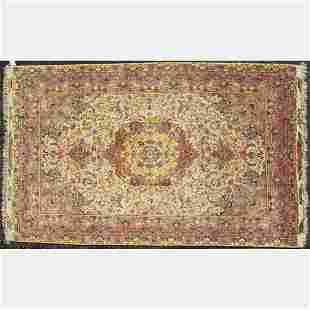 A Very Fine Persian Tabriz Silk Foundation, Wool and