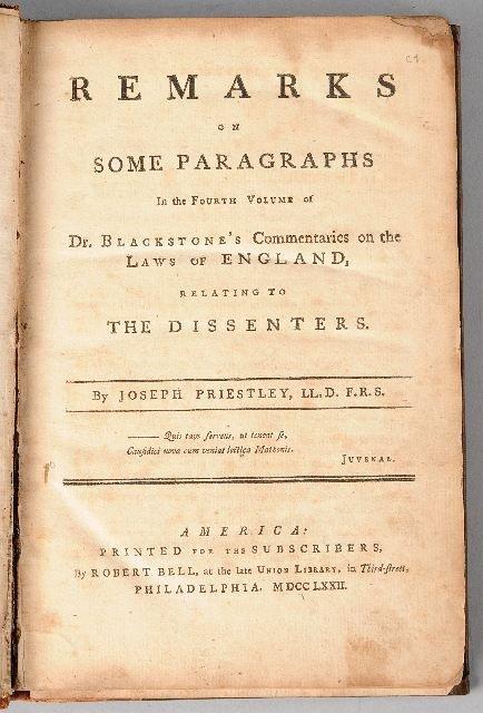 10: [BLACKSTONE, William]. PRIESTLEY, Joseph (1733-1804