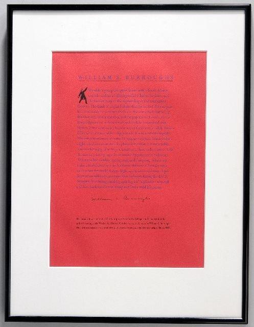 22: BURROUGHS, William Seward (1914-1997). Printed Broa