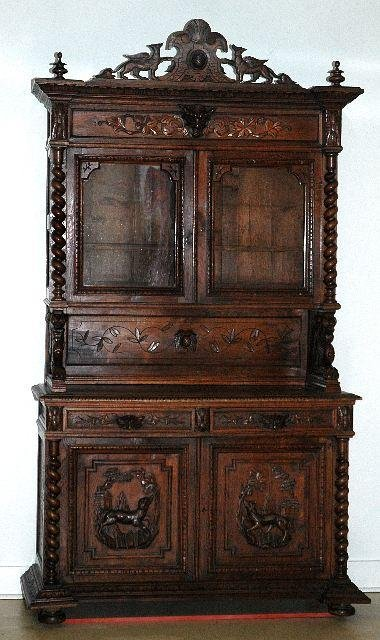 1: A Gothic Revival Carved Oak Cabinet on Chest, Early