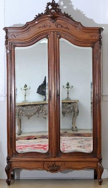 10A: A Louis XV Style Carved Mahogany Mirrored Armoire,