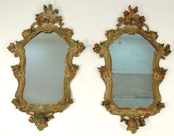 13A: A Pair of Rococo Revival Polychrome Mirrors, 20th