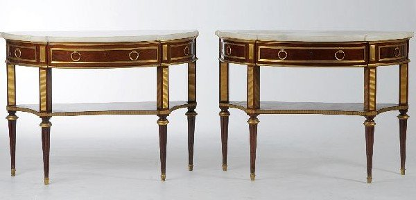 17: A Pair of Louis XVI Style Mahogany, Marble-Top and