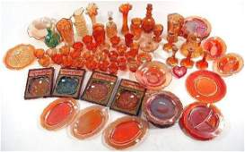 192 A Large Collection of Carnival Glass Decorative an