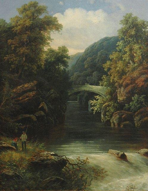 3: A. Taylor, (English, 19th Century) Fishing By The St