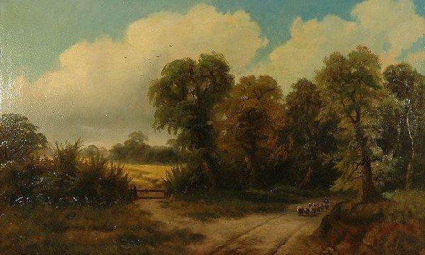 4: W. Yates (English, 19th Centuy) Essex Lane, Oil on C