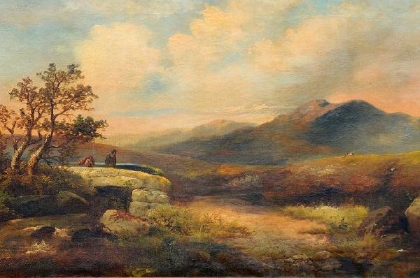 5: W. Horlor (British, 19th Century) Landscape with Bri