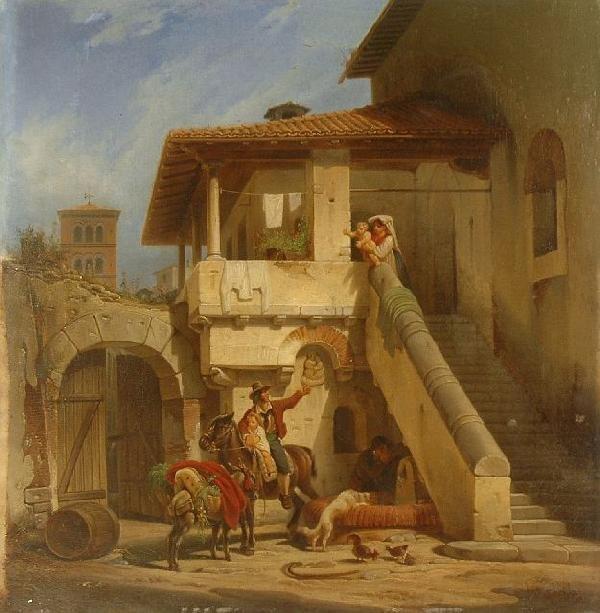 19: Wilhelm Karl Hahn (1829-1887) The Departure, Oil on