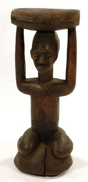 4: A Wood Caryatid Seated Figure, Luba/Hema Style, Demo