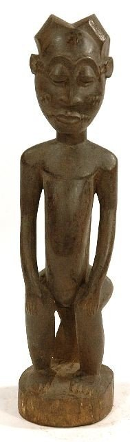 6: A Wood Seated Male with Flanged Coiffeur, Baule, Cot