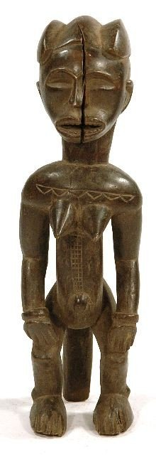 13: A Wood Standing Female Figure, Fang Style, Modern C