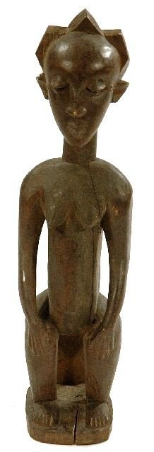 20: A Wood Seated Female Figure with Triple Ridged Coif