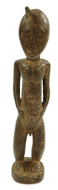 21: A Wood Standing Male Figure, Baule, Cote d'Ivoire,