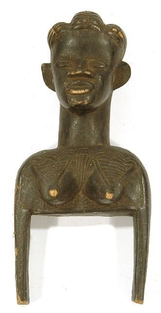68: A Wood Figural Heddle Pulley with Woman's Head, Dan