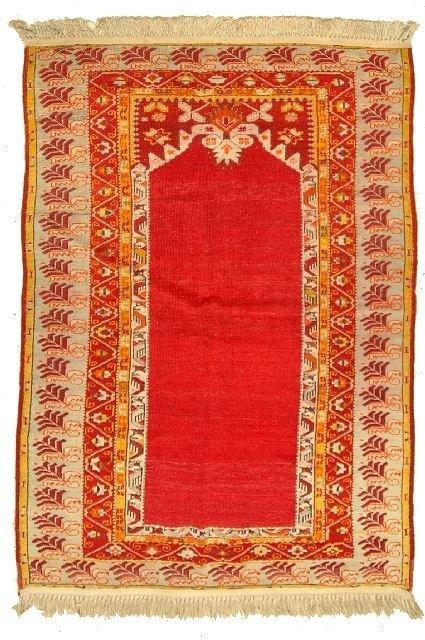 7: An Antique Turkish Prayer Wool Rug