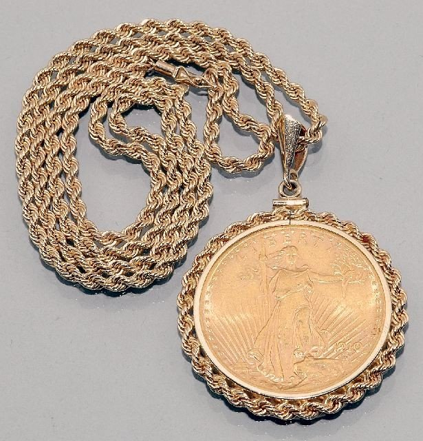 43: A 14kt Yellow Gold Braided Robe Necklace