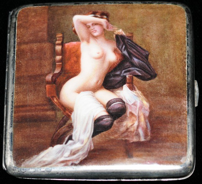 109: Continental Erotic Silver Enamelled Cigarette Case