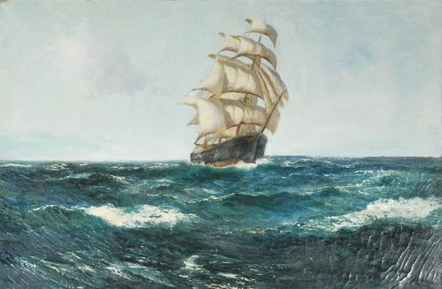 5: Daniel Sherrin (1868-1940) Ship at Sail Oil on Canva
