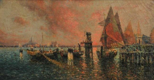 6: Nicholas Briganti (1861-1944) Venetian Canal, Oil on