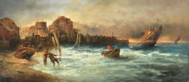 7: Artist Unknown (20th Century) Coastal Scene with Fis