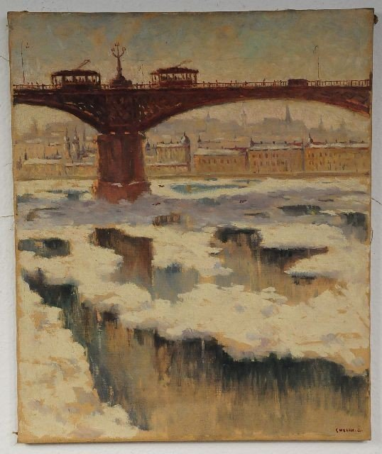 8: Odon Guzsik (Hungarian, 1902-1954) Duna River, Margi