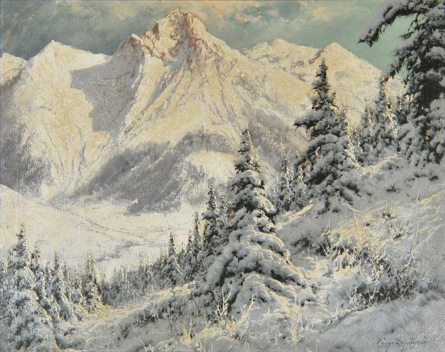 9: Laszlo Neogrady (1896-1962) Winter Alpine Landscape,