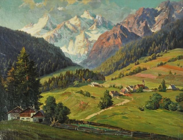 10: R. Hofer (20th Century) Alpine Landscape, Oil on Ca