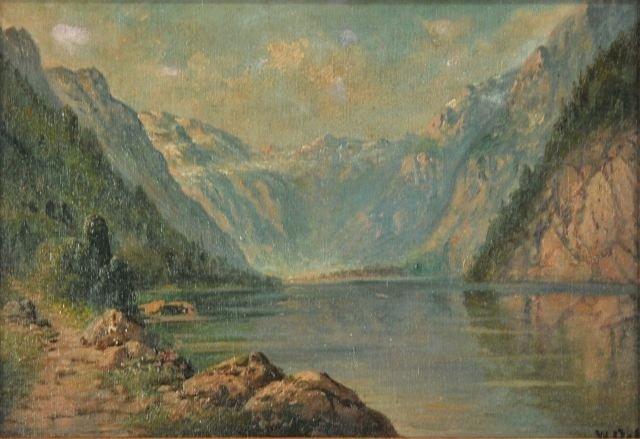 13: W. Cole (20th Century) Alpine Scene with Lake, Oil